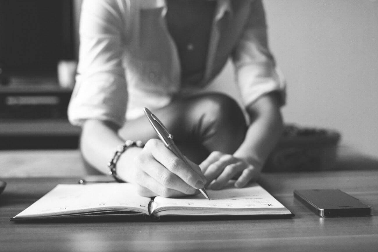 Woman Writing Bw